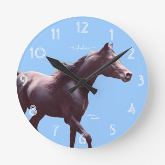 Relógio Redondo Pulso de disparo de parede árabe do cavalo