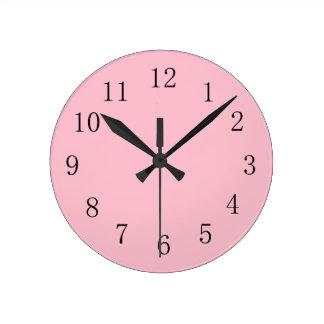 Relógio Redondo Pulso de disparo de parede cor-de-rosa macio da