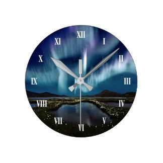 Relógio Redondo Pulso de disparo de parede da aurora boreal