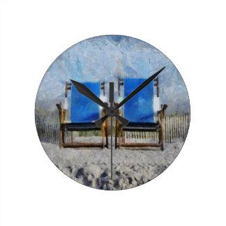Relógio Redondo Pulso de disparo de parede da cadeira de praia