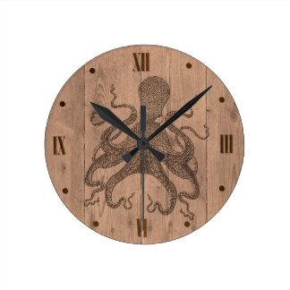 Relógio Redondo Pulso de disparo de parede de madeira do olhar do