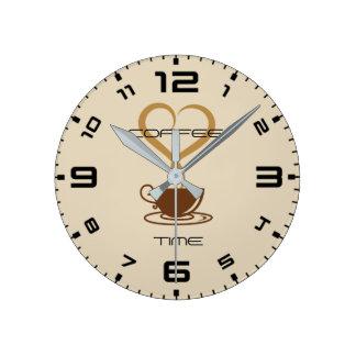 Relógio Redondo Pulso de disparo de parede do tempo do café
