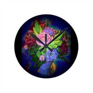 Relógio Redondo Pulso de disparo de parede floral azul bonito do