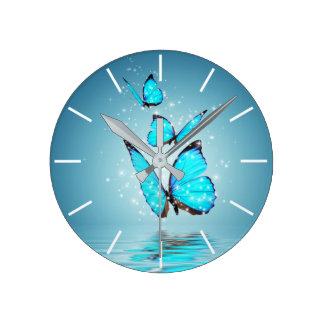 Relógio Redondo Pulso de disparo de parede mágico das borboletas