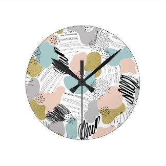 Relógio Redondo Pulso de disparo de parede Pastel abstrato