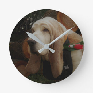 Relógio Redondo Pulso de disparo do cão de Basset