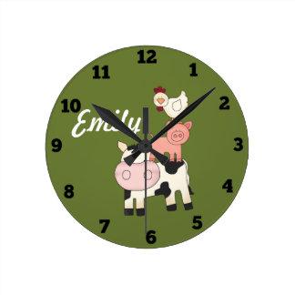 Relógio Redondo Pulso de disparo dos miúdos dos animais de fazenda