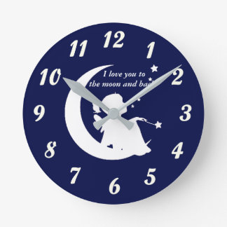 Relógio Redondo Pulso de disparo - eu te amo à lua e à parte