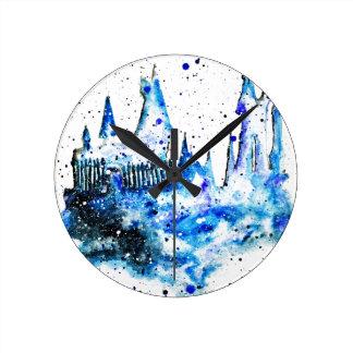 Relógio Redondo Pulso de disparo medieval azul pintado mão do