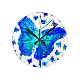 Relógio Redondo Pulso de disparo pintado mão da borboleta