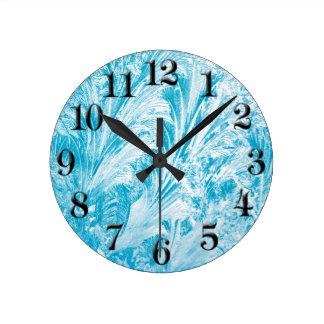 Relógio Redondo Pulso de disparo redondo congelado azul da sala do