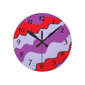 Relógio Redondo Pulso de disparo redondo vermelho e roxo