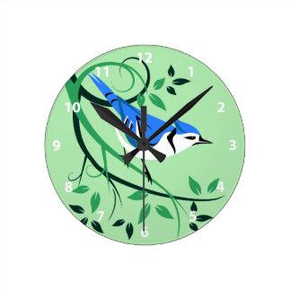 Relógio Redondo Pulsos de disparo do pássaro de Jay azul