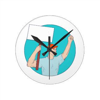 Relógio Redondo Punho de protesto do cartaz do activista do