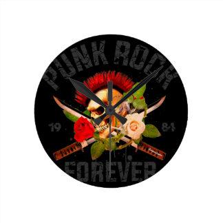 Relógio Redondo Punk rock para sempre