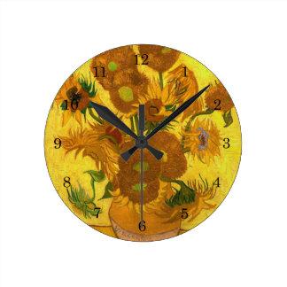 Relógio Redondo Quinze girassóis em um vaso