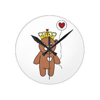 Relógio Redondo rainha do urso de ursinho