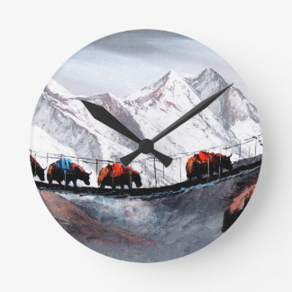 Relógio Redondo Rebanho de iaques Himalaya da montanha