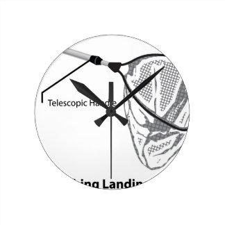 Relógio Redondo Rede de aterragem para pescar a ilustração marcada