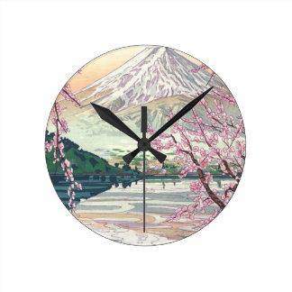 Relógio Redondo Refrigere a arte oriental da árvore de cereja do