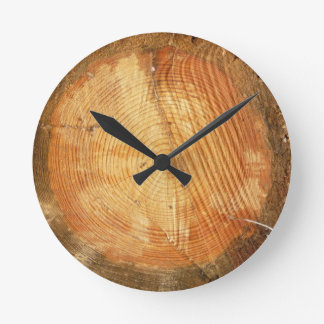 Relógio Redondo Registro de madeira natural dos ANÉIS de ÁRVORE |