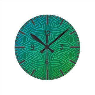 Relógio Redondo Relógio, Wanduhr, nó celta, azul verde
