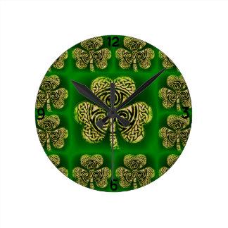 Relógio Redondo Relógio, Wanduhr, trevo, nó celta, verde