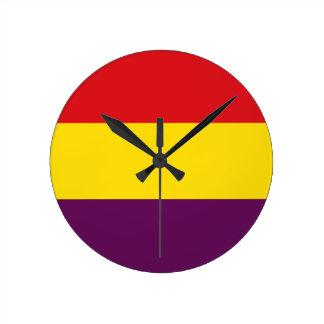 Relógio Redondo República da bandeira da espanha - bandera