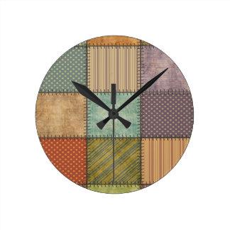 Relógio Redondo Retalhos coloridos retros do vintage bonito na