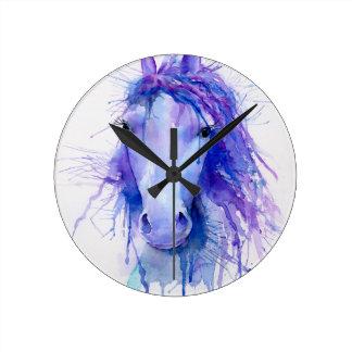 Relógio Redondo Retrato abstrato do cavalo da aguarela