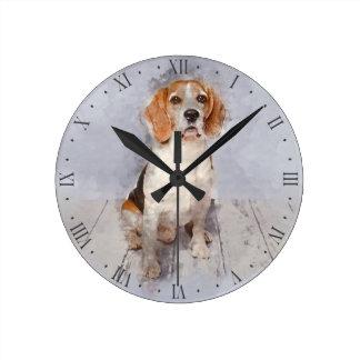 Relógio Redondo Retrato bonito da aguarela do lebreiro