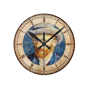 0cee49441b8 Relógio Redondo Retrato de auto com arte de Vincent van Gogh do