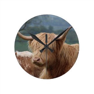 Relógio Redondo retrato do gado das montanhas
