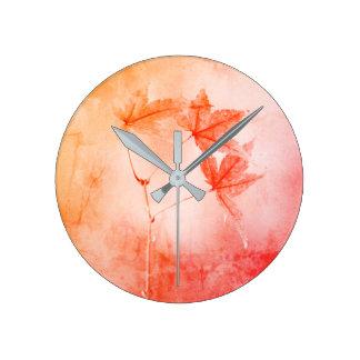 Relógio Redondo Retrato rústico da folha do bordo japonês