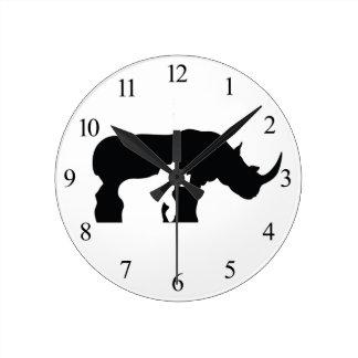 Relógio Redondo Rinoceronte preto e branco