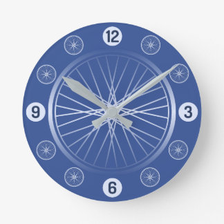 Relógio Redondo Rodas de bicicleta azuis