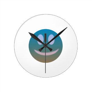 Relógio Redondo Roxo azul do Emoticon do smiley