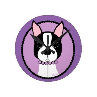 Relógio Redondo Roxo de Boston Terrier
