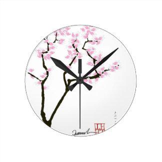Relógio Redondo sakura afortunado e peixe dourado cor-de-rosa,