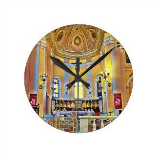 Relógio Redondo Santuário artístico velho bonito de San Juan