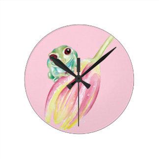 Relógio Redondo Sapo bonito no rosa