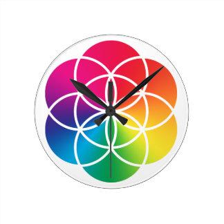 Relógio Redondo Semente do arco-íris de Chakras do símbolo da vida