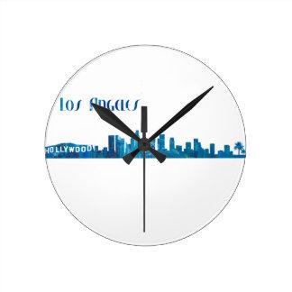 Relógio Redondo Silhueta da skyline de Los Angeles