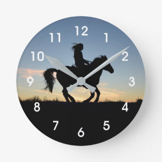 Relógio Redondo Silhueta do cavalo e do cavaleiro