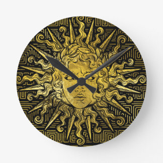 Relógio Redondo Símbolo de Apollo Sun no teste padrão chave grego