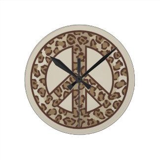 Relógio Redondo Símbolo de paz do leopardo