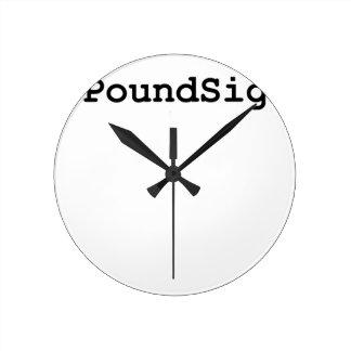 Relógio Redondo Sinal da libra de Hashtag