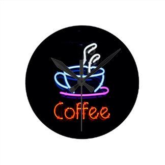 Relógio Redondo Sinal de néon do café