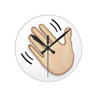 Relógio Redondo Sinal de ondulação Emoji da mão