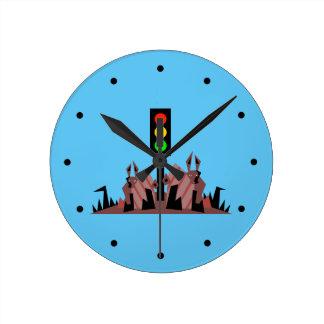Relógio Redondo Sinal de trânsito com coelhos